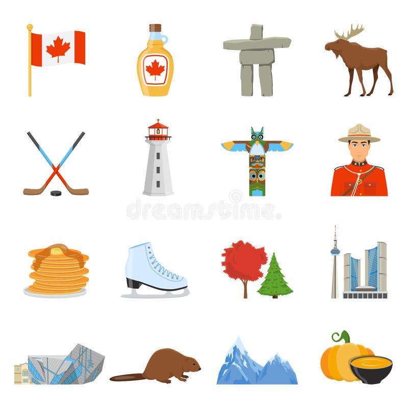 Kanada sänker nationella symboler symbolssamlingen stock illustrationer