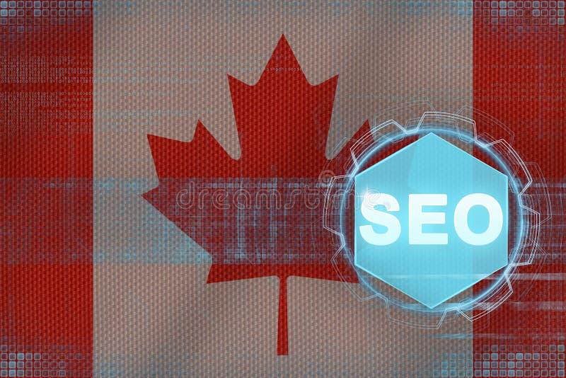 Kanada seo (wyszukiwarka optymalizacja) komputerowy pojęcie wytwarzający wizerunku seo ilustracja wektor