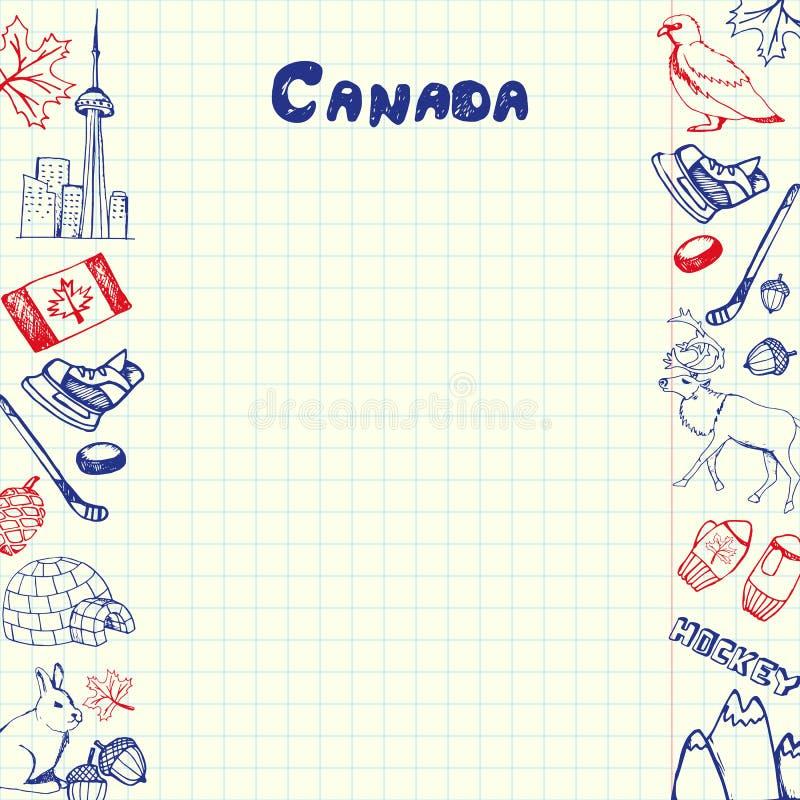 Kanada symboler Pen Drawn Doodles Vector Collection vektor illustrationer
