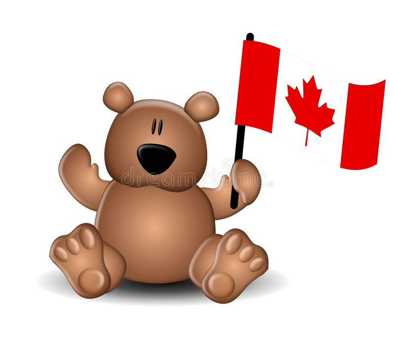 Kanada-TagesTeddybär mit Markierungsfahne vektor abbildung