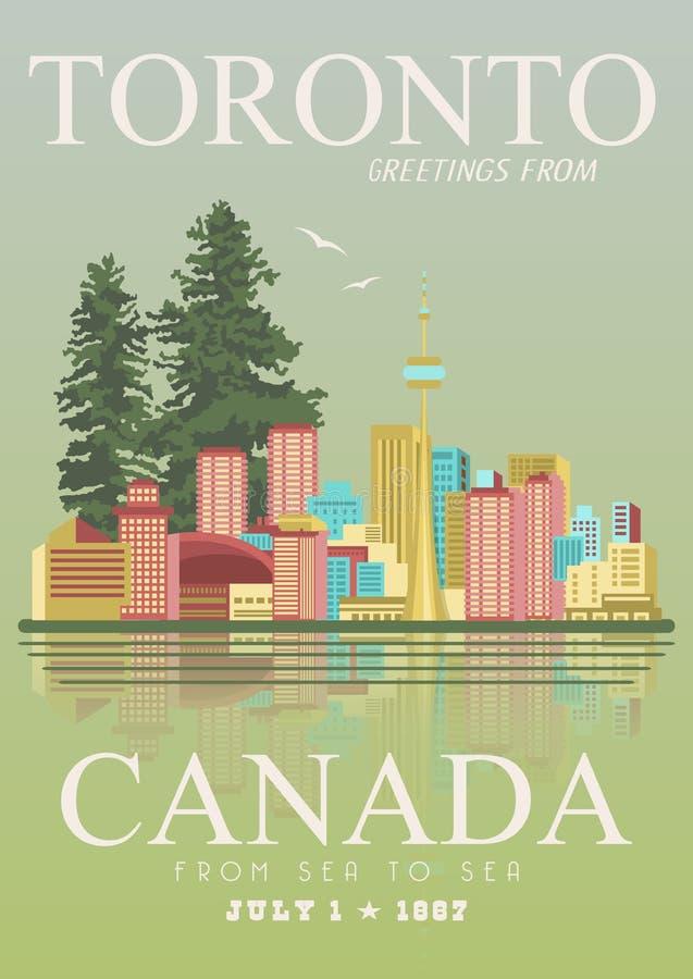 Kanada toronto Kanadyjska wektorowa ilustracja ilustracyjny lelui czerwieni stylu rocznik Podróży pocztówka royalty ilustracja