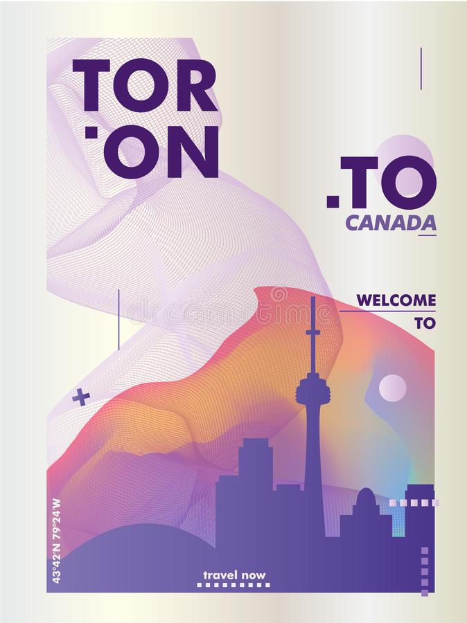 Kanada Toronto linii horyzontu gradientu plakat ilustracji