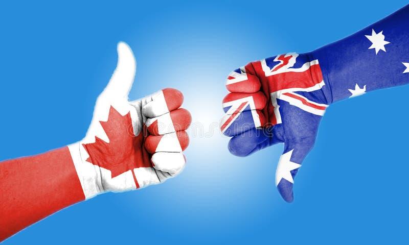 Kanada und Australien greift herauf Togater ab stockfotos