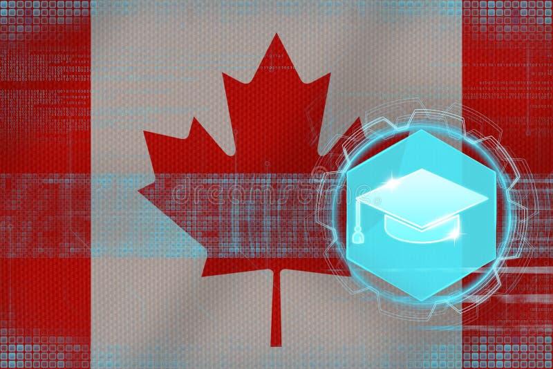 Kanada utbildning Ungkarls hattbegrepp royaltyfri illustrationer