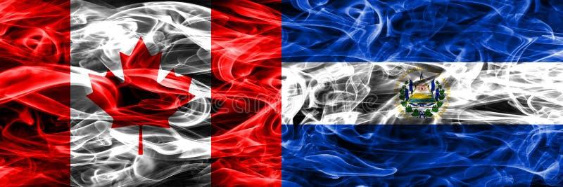 Kanada vs Salwador dymu flaga umieszczająca strona strona - obok - kanadyjczyk ilustracji