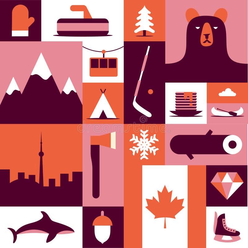 Kanada, wektorowa płaska ilustracja, ikona set, tło Mitynki, krajobraz, ax, góra, camping, ryba, zima, drewno, las, royalty ilustracja