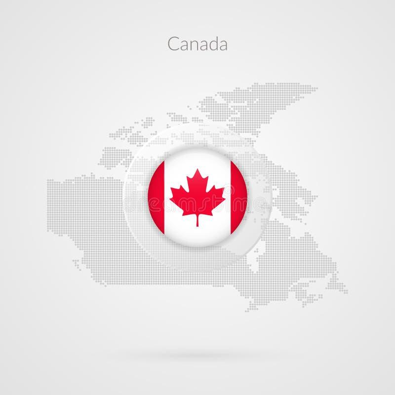 Kanada wektoru mapa kropkujący konturowy znak Odosobniony Kanadyjski okrąg flaga symbol z liściem klonowym ilustracja wektor
