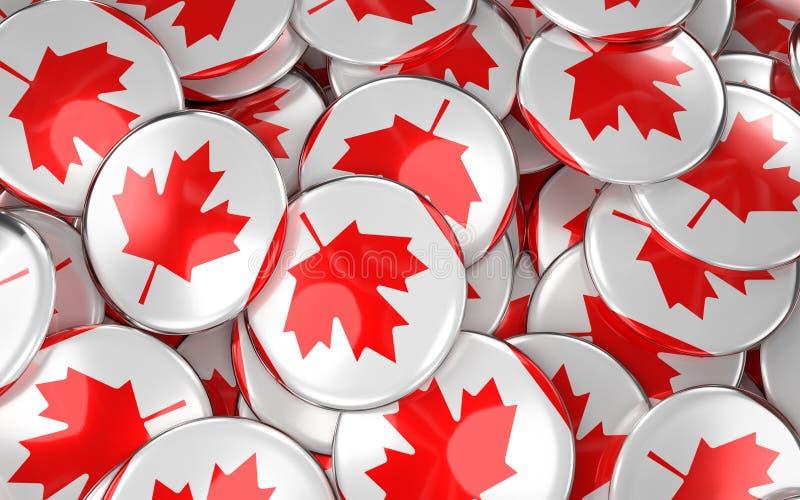 Kanada wird Hintergrund - Stapel von kanadischen Flaggen-Knöpfen deutlich vektor abbildung