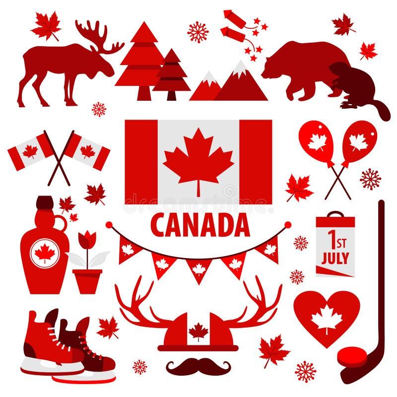 Kanada znak i symbol, grafika elementów płaskie ikony ustawiać royalty ilustracja