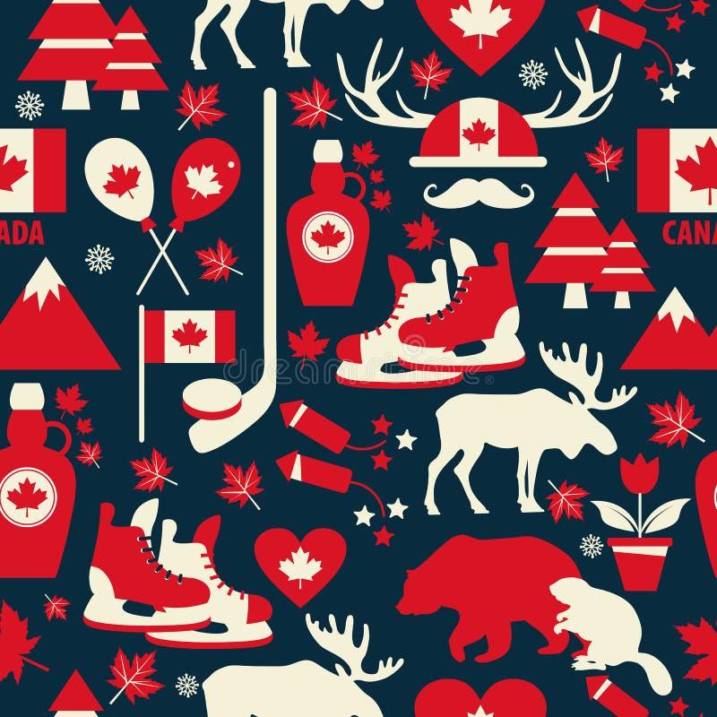 Kanada znak i symbol, grafika element?w p?askie ikony ustawia? w bezszwowym wzorze ilustracji
