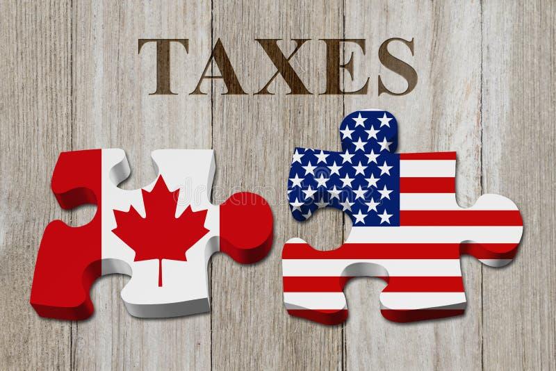 Kanadensare som betalar amerikanskatter arkivbilder