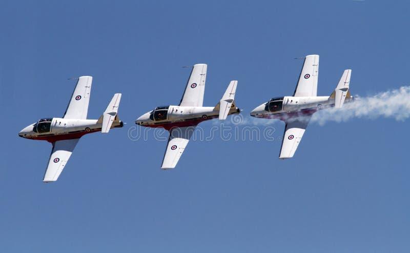 Kanadensaren tvingar Snowbirds Jet Aircraft Team St Thomas Airshow fotografering för bildbyråer