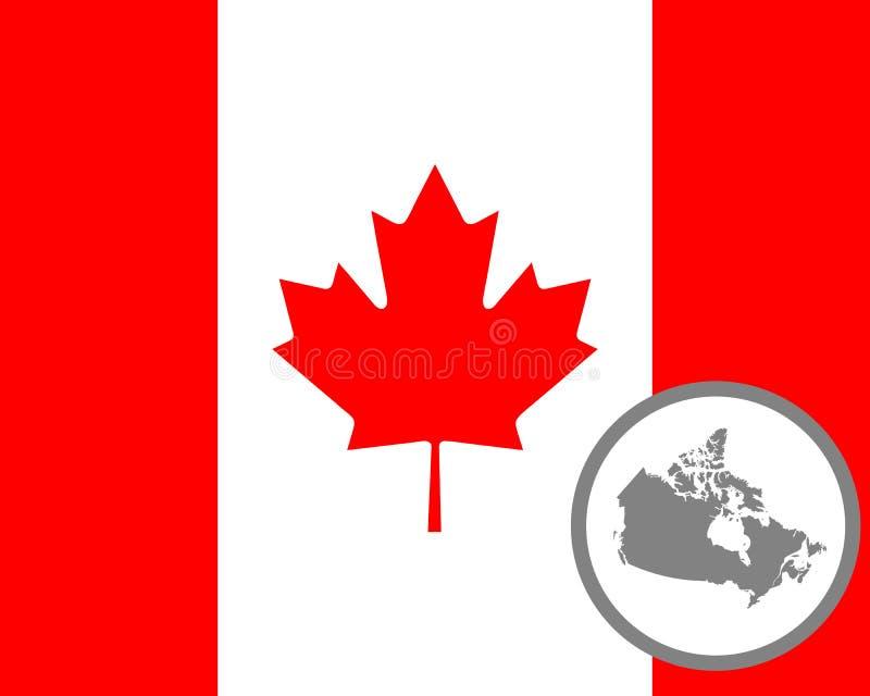 Kanadensisk flagga och översikt royaltyfri illustrationer
