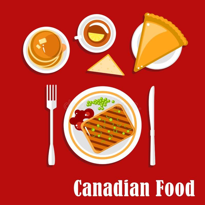 Kanadensisk kokkonstfrukostmat och drink royaltyfri illustrationer