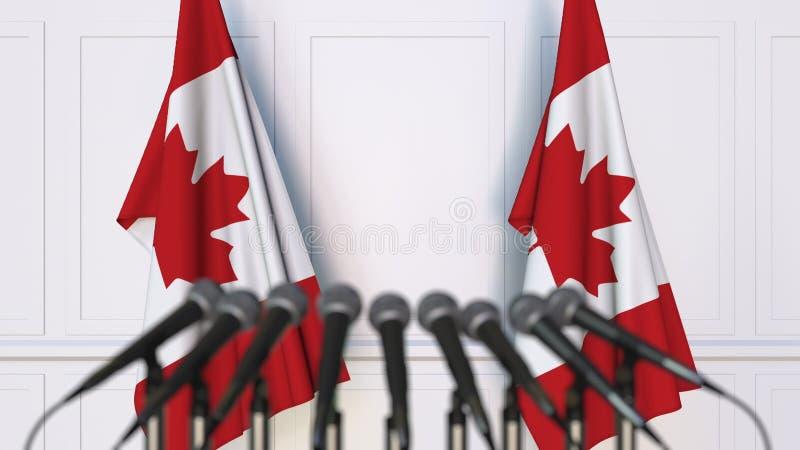 Kanadensisk officiell presskonferens Flaggor av Kanada och mikrofoner begreppsmässigt framförande 3d vektor illustrationer