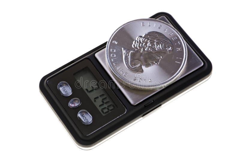Kanadensisk silvermyntinvestering som ett uns är troy fotografering för bildbyråer