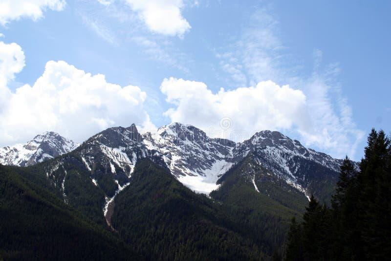 Kanadensisk snö korkade Rocky Mountains royaltyfri foto