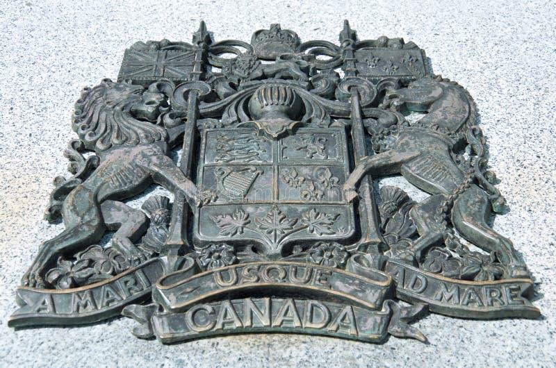 Kanadensisk vapensköld för stor svart metall royaltyfri bild