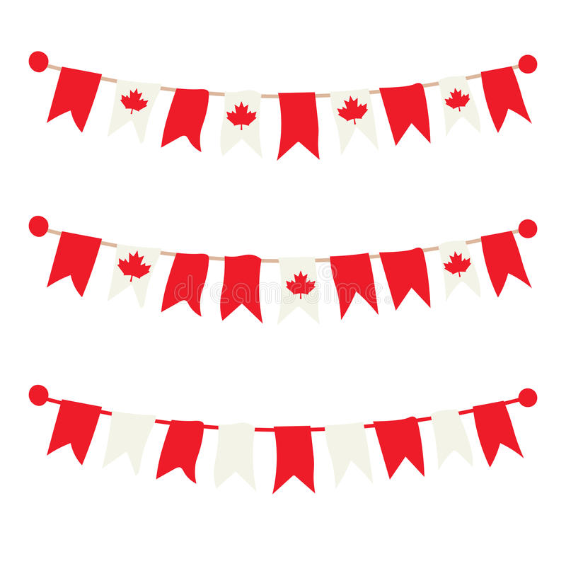 Kanadensiska buntings, girlander, flaggauppsättning vektor illustrationer