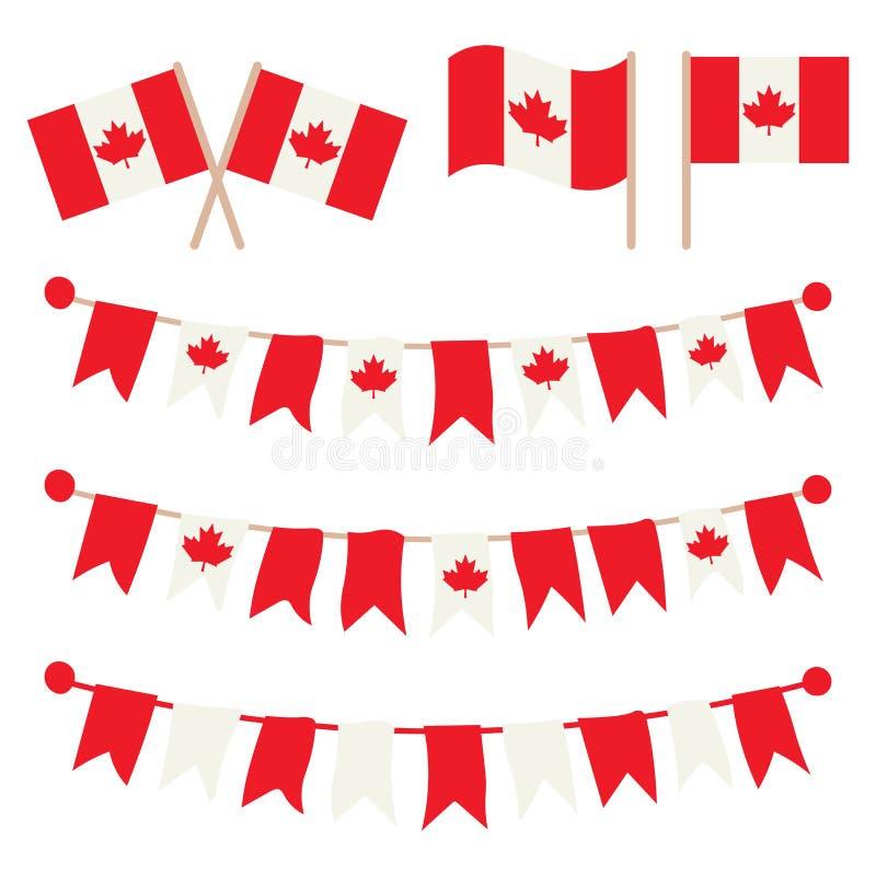 Kanadensiska buntings, girlander, flaggauppsättning royaltyfri illustrationer