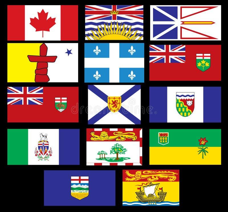 kanadensiska flaggor vektor illustrationer