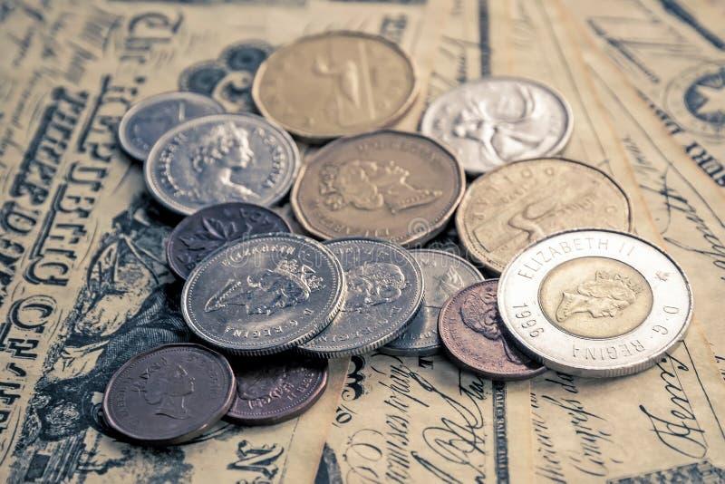 kanadensiska mynt royaltyfria bilder