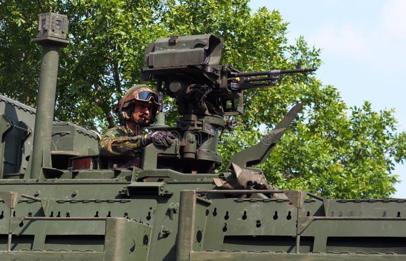 Kanadensiska soldatIn Tank In K-dagar ståtar royaltyfria bilder