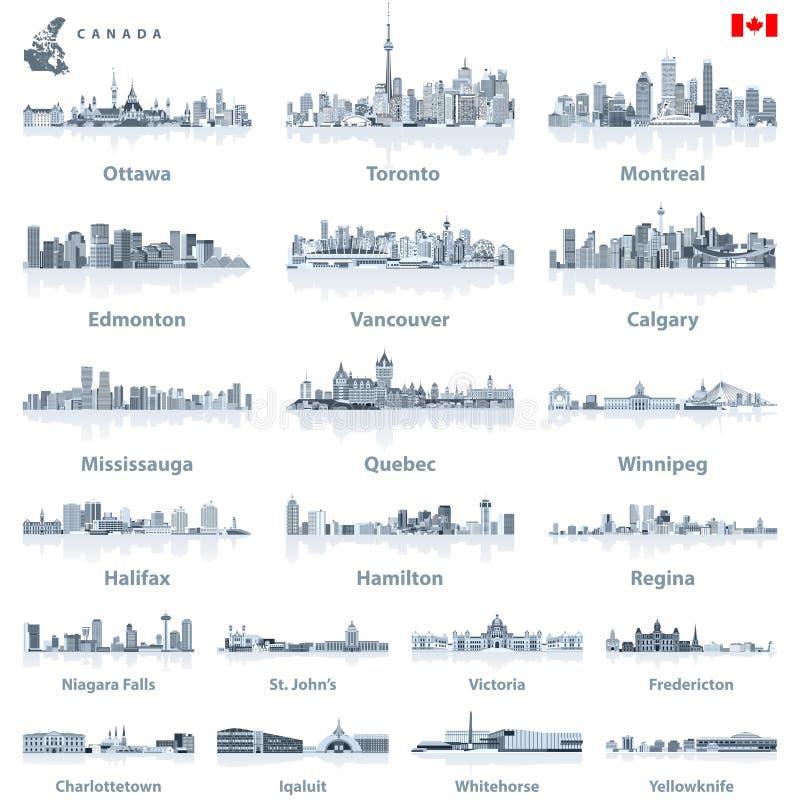 Kanadensiska störst städer och alla horisonter för tillståndshuvudstäder i toner av den blåa färgpaletten med vattenreflexioner royaltyfri illustrationer