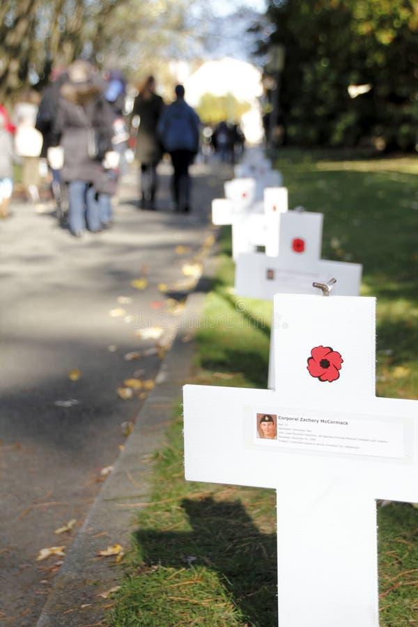 Kanadensiska stupade soldater och kors arkivbild