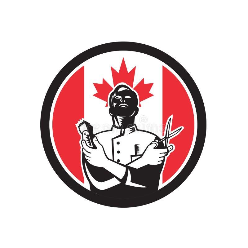 Kanadier Barber Canada Flag Icon lizenzfreie abbildung