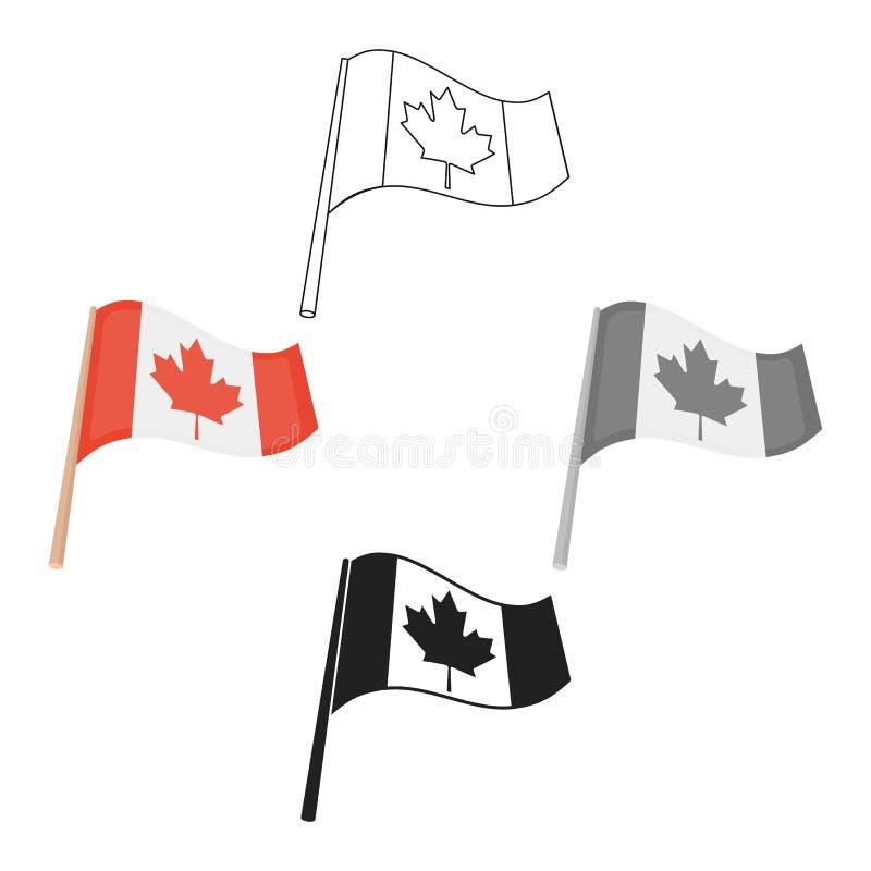 Kanadische Flaggenikone in der Karikatur, schwarze Art lokalisiert auf weißem Hintergrund Kanadischer Danksagungs-Tagessymbol-Vor vektor abbildung