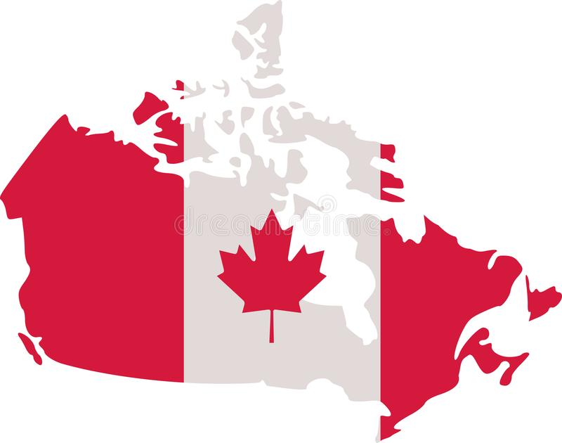 Kanadische Karte mit Kanada-Flagge lizenzfreie abbildung