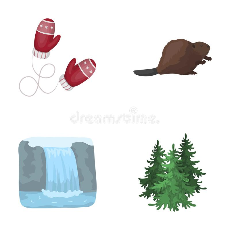 Kanadische Tanne, Biber und andere Symbole von Kanada Vector gesetzte Sammlungsikonen Kanadas in der Karikaturart Symbolvorrat stock abbildung