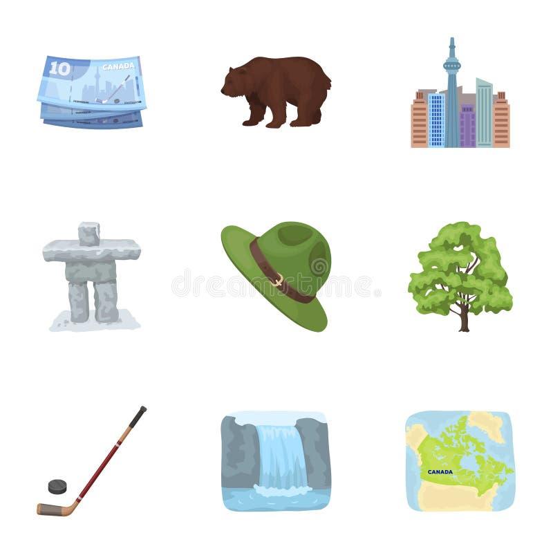 Kanadische Tanne, Biber und andere Symbole von Kanada Vector gesetzte Sammlungsikonen Kanadas in der Karikaturart Symbolvorrat lizenzfreie abbildung