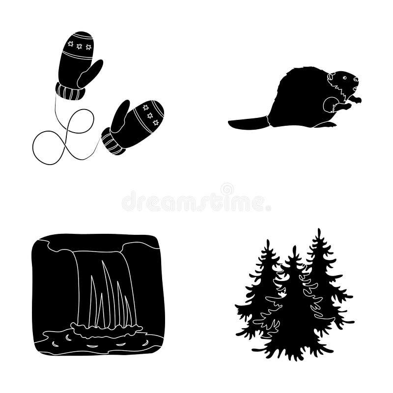 Kanadische Tanne, Biber und andere Symbole von Kanada Vector gesetzte Sammlungsikonen Kanadas in der schwarzen Art Symbolvorrat stock abbildung