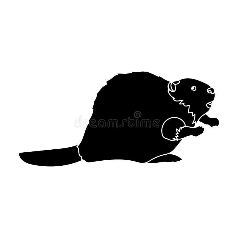 Kanadischer Biber Einzelne Ikone Kanadas im schwarzen Artvektorsymbolvorrat-Illustrationsnetz vektor abbildung