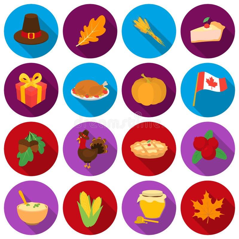 Kanadischer Danksagungs-Tagesgesetzte Ikonen in der flachen Art Große Sammlung kanadischer Danksagungs-Tagesvektor-Symbolvorrat vektor abbildung