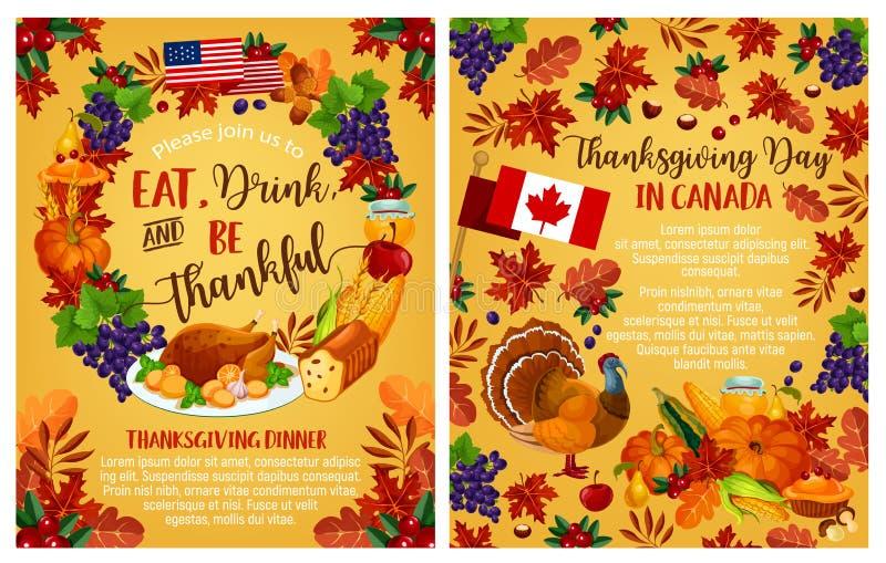 Kanadischer Grußposter des Danksagungstagesvektors lizenzfreie abbildung