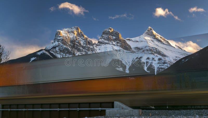 Kanadischer pazifischer Zug in Rocky Mountains stockbild