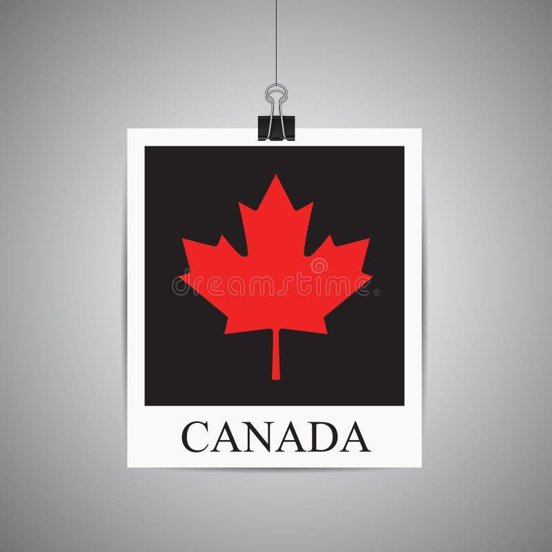 Kanadisches Ahornblatt im Fotorahmen, der an der Wand hängt Vect stock abbildung