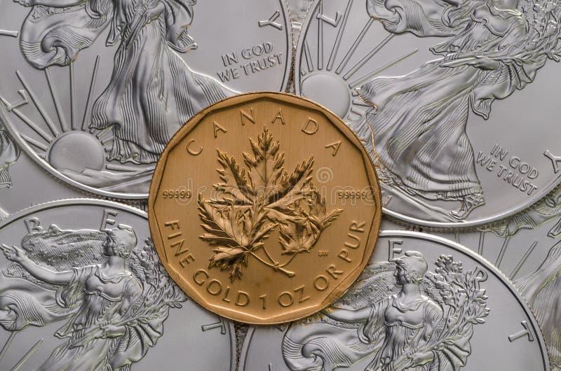 Kanadisches Goldahornblatt ontop von amerikanischem silbernem Eagles stockfoto