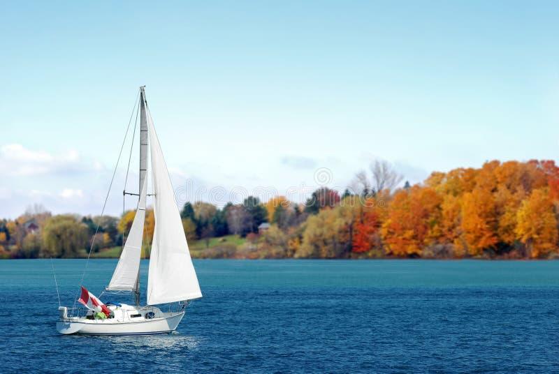 Kanadisches Segelboot im Herbst lizenzfreie stockbilder
