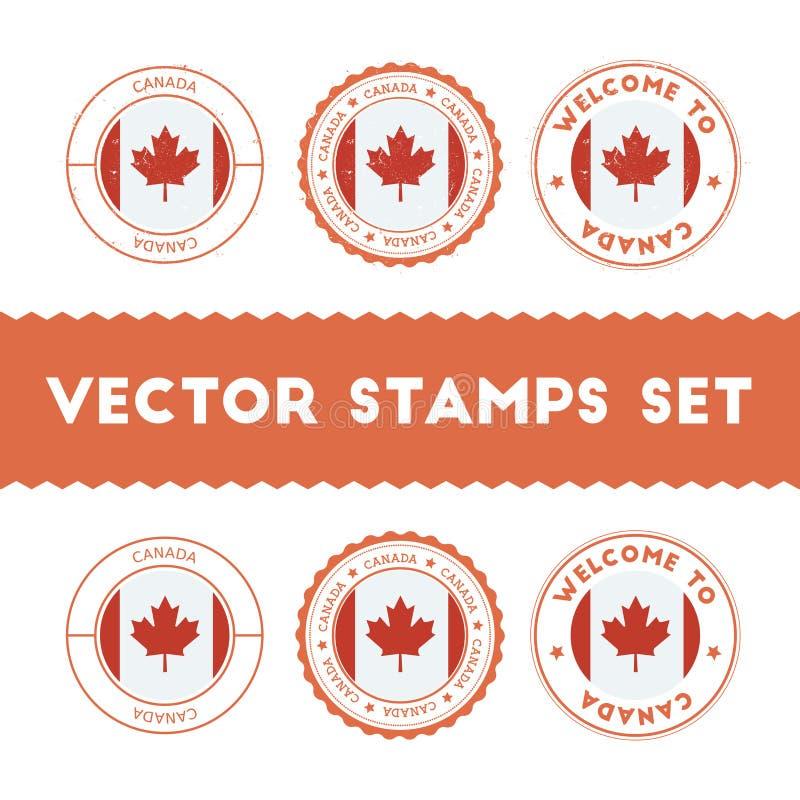 Kanadyjczyk chorągwiane pieczątki ustawiać ilustracja wektor