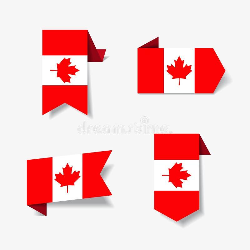 Kanadyjczyk etykietki i również zwrócić corel ilustracji wektora ilustracji