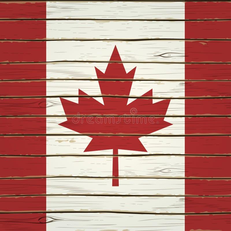 Kanadyjczyk flaga na drewnie ilustracja wektor