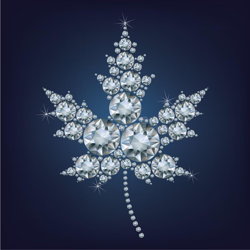 Kanadyjska liść klonowy ikona zrobił mnóstwo diamentom ilustracja wektor