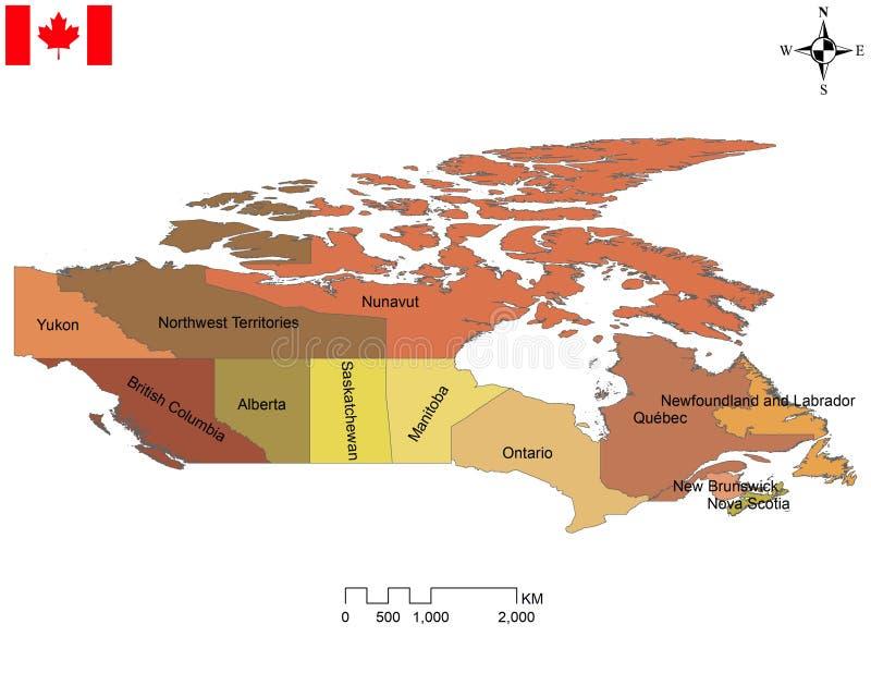 Kanadyjska mapa dziesięć prowincji i trzy terytorium royalty ilustracja