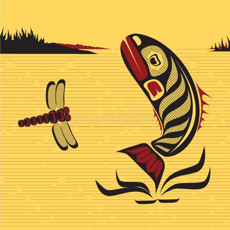 Kanadyjska Rodzima Północno Zachodni sztuka, wektor ryba ilustracja wektor