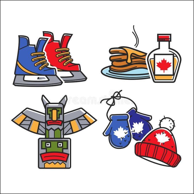 Kanadyjska turystyczna podróż i Kanada kultura symboli/lów wektoru tradycyjny set ilustracji