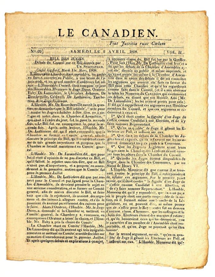kanadyjska wczesna gazeta zdjęcia stock